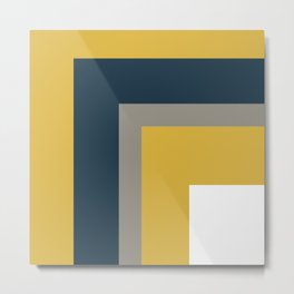 Half Frame Minimalist Pattern in Deep Mustard Yellow, Navy Blue, Gray, and White Metal Print