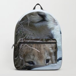 White and Gold Baby Lion Cubs! Backpack