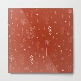 Wild botanical pattern Terracotta Edition Metal Print