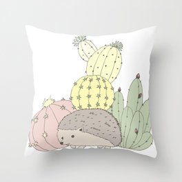 Prickly Little Friends Gathering Throw Pillow