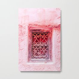 Colorful Pink Window in Marrakech, Morocco Metal Print