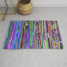 Abstract Distressed Colour Stripes 1317 Rug
