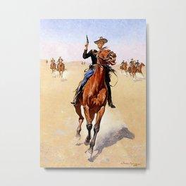 """The Trooper"" Western Art by Frederick Remington Metal Print"