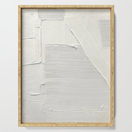 Relief [2]: an abstract, textured piece in white by Alyssa Hamilton Art Serving Tray