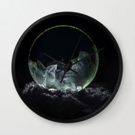 Frozen green and silver soap bubble Wall Clock