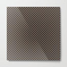 Black and Toasted Almond Polka Dots Metal Print