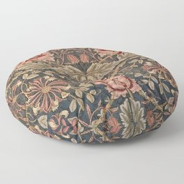 William Morris Honeysuckle Tuscany Italian Textile Floral Pattern Floor Pillow