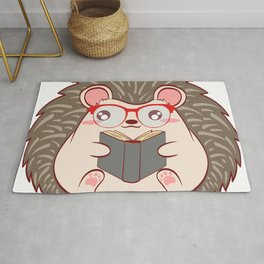 "Hedgehog ""Reader"" Christmas Design For Students T-shirt Design Animals Reading Read Books Study Rug"