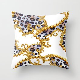 White Vintage Leopard Skin in Chains Print Throw Pillow