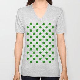 Polka Dot Texture (Green & White) Unisex V-Neck