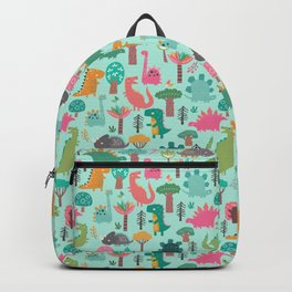 Dinosaurs in the woods pastel green pattern Backpack