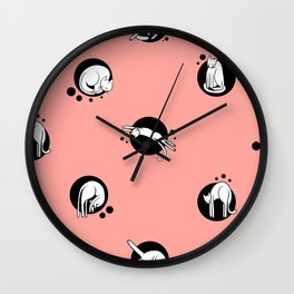 Cat Yoga Modern Polka Dots Wall Clock