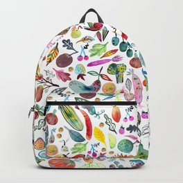 Colorful Whimsical Watercolor Fruits Veggies White Pattern Backpack