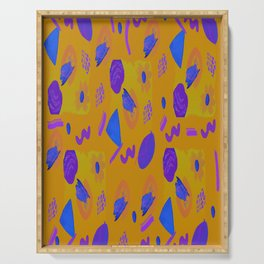 Mustard blue abstract theme Serving Tray