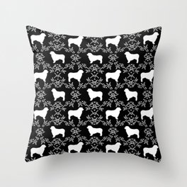 Australian Shepherd black and white dog breed pet portrait dog silhouette pattern minimal Throw Pillow