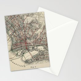 Vintage Map of Oakland CA (1912) Stationery Cards
