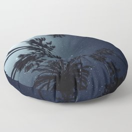 Palm Trees, Night Sky, Stars, Moon Floor Pillow