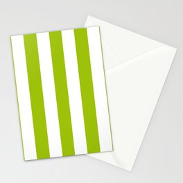 Limerick green - solid color - white vertical lines pattern Stationery Cards