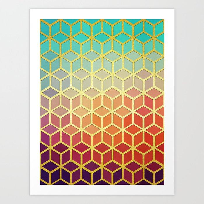 Golden geometric pattern IX Kunstdrucke