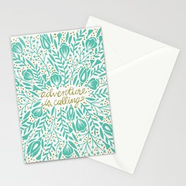 Adventure is Calling – Turquoise & Gold Palette Stationery Cards