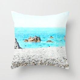 Seacoast of Scalea with rocks Throw Pillow