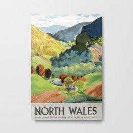 North Wales Vintage Travel Poster Metal Print