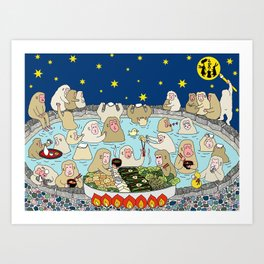 Snow Monkeys in Hot Spa Kunstdrucke