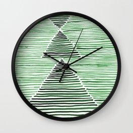 Rosario Watercolor Print in Dark Green Wall Clock