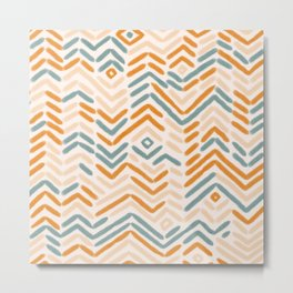 Zigzag vintage hand drawn illustration pattern. Geometrical colorful Abstract striped repeat background in pastel colors. Metal Print