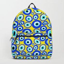 Greek Eye Blue Yellow Pattern Backpack