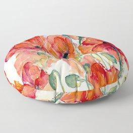 Tangerine Orange Poppy field WaterColor by CheyAnne Sexton Floor Pillow