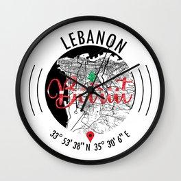 Beirut, LEBANON Road Map Art - Earth Tones Wall Clock