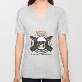 Ammo Is Expensive, Don't Expect A Warning Shot, Gun Gifts, 2nd Amendment, Hunter Gifts, Police Officer Gifts, Gun Lover Gift, Gun Enthusiast, Pro Gun, Army Gifts Unisex V-Neck