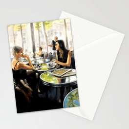 Paris Cafe Reflections painting by Bonnie Parkinson Stationery Cards