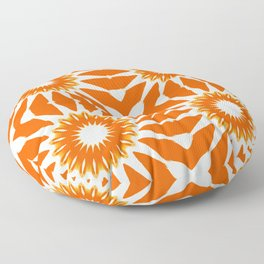 Orange Pinwheel Flowers Floor Pillow