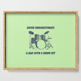 Never Underestimate A Dad With A Drum Set Funny Drums Vintage Drummer Distressed Serving Tray
