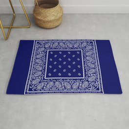 Blue and White Bandana Rug