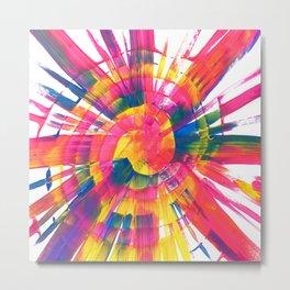 Neon Rainbow Paint Spiral Abstract Metal Print