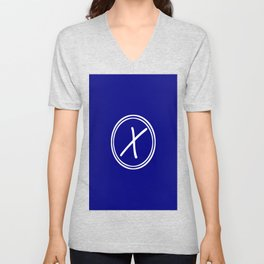 Monogram - Letter X on Navy Blue Background Unisex V-Neck