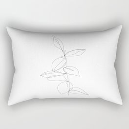 One line minimal plant leaves drawing - Berry Rectangular Pillow