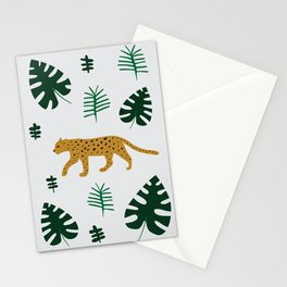 Leopard Jungle Print Grey Stationery Cards
