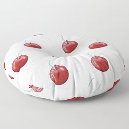 red Apple and a cocktail straw Floor Pillow