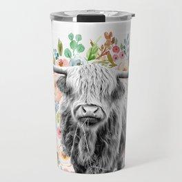 Cutest Highland Cow With Flowers Travel Mug