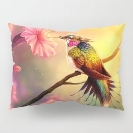Gorgeous Colorful Fairytale Hummingbird Creature Licking Blossom Juice UHD Pillow Sham