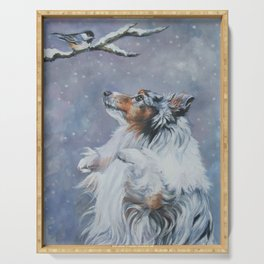 SHELTIE Shetland Sheepdog dog art from an original painting by L.A.Shepard Serving Tray