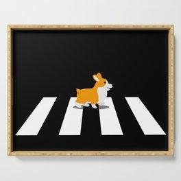 Dog Corgi walk over Crosswalk Serving Tray