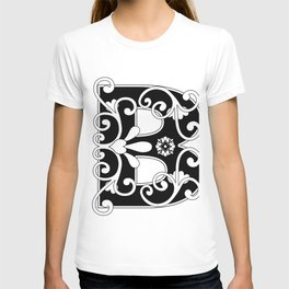 Initial Letter B Scroll Art T-shirt