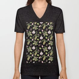 Olives and Garlic Spicy Duo Unisex V-Neck