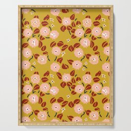 japanese Flowers mustard and rusty Serving Tray