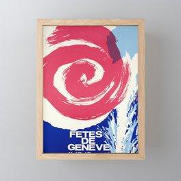 fetes de geneve artifice vintage poster Framed Mini Art Print